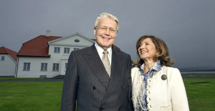 Olafur Ragnar Grimsson, president of Iceland, and Dorrit Moussaieff, the first lady