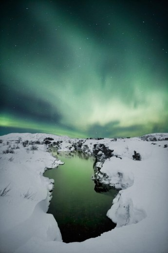 aurora borealis / Northern lights at Thingvellir national park